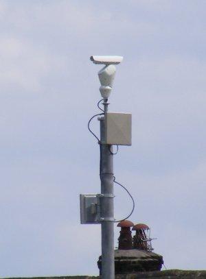 CCTV camera on a mast